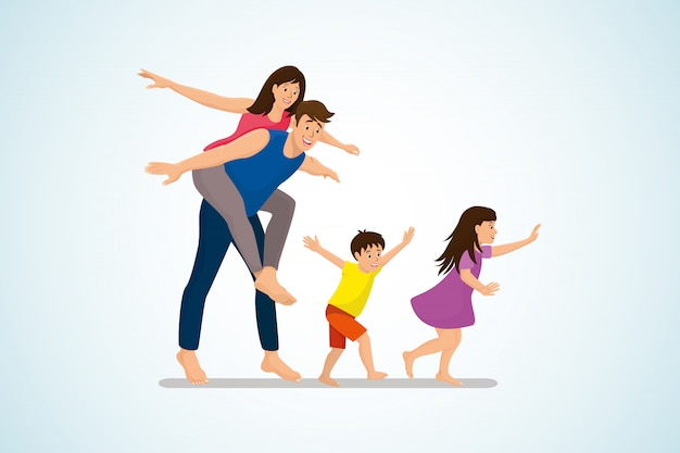 Conceito de vetor de desenho animado feliz família divertida