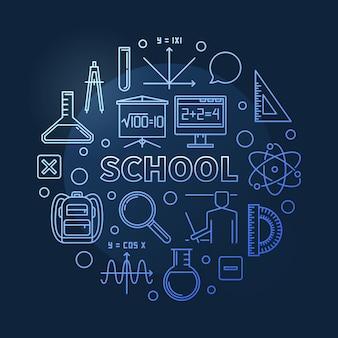 Conceito de vetor de escola azul redondo contorno ilustração