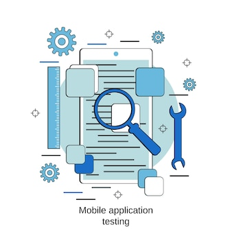 Conceito de vetor de estilo de design plano de teste de aplicativo móvel