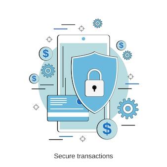 Conceito de vetor de estilo de design plano de transações seguras