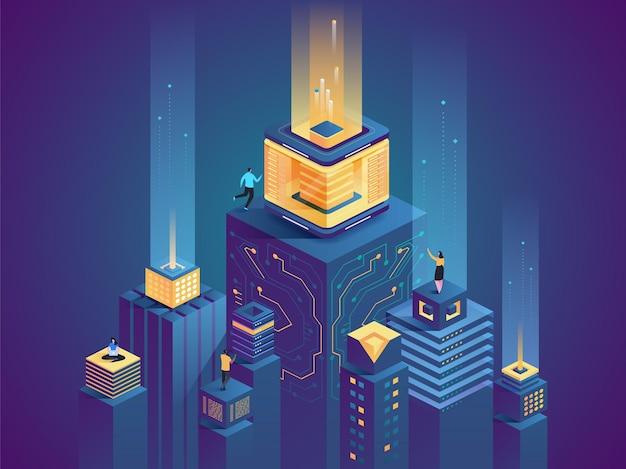 Conceito de vetor de farm de servidores de tecnologia futurista de cidade inteligente banco de dados virtual de rede digital