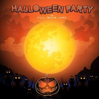 Conceito de vetor de festa de halloween terra de lua cheia