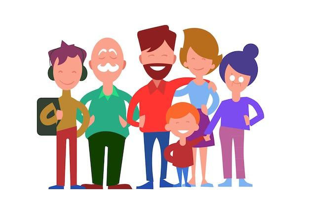 Conceito de vetor de gerações familiares em design plano