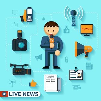 Conceito de vetor de notícias e mídia de massa, ícones lisos de jornalista e jornalismo