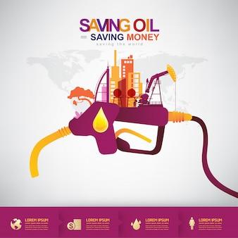 Conceito de vetor de óleo economizando dinheiro de poupança de óleo