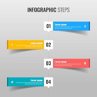 Conceito de vetor de passos infográfico