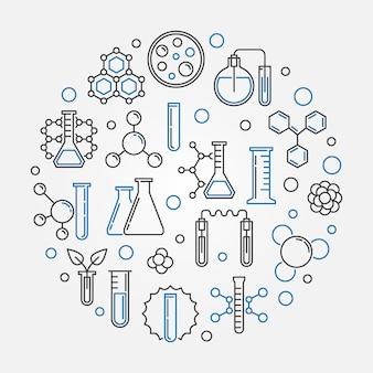 Conceito de vetor de química rodada ilustração em estilo de linha fina
