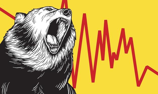 Conceito de vetor de símbolo de ícone de mercado de urso