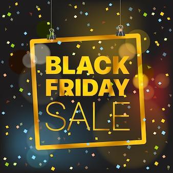 Conceito de vetor de venda de sexta-feira negra. logotipo dourado de luxo da black friday sale