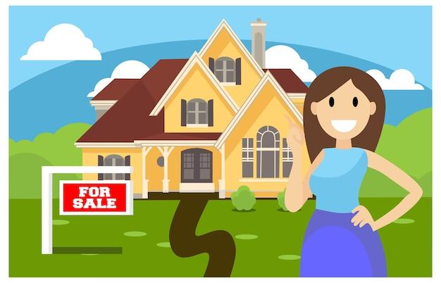 Conceito de vetor de vendas em casa