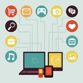 Conceito de vetor - infográficos de desenvolvimento de aplicativos móveis em estilo simples, com mídias sociais e tecnologia