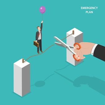 Conceito de vetor isométrica de plano de emergência de negócios.