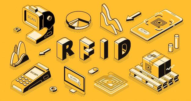 Conceito de vetor isométrica de tecnologia de identificação de freqüência de rádio com leitor rfid ou scanner
