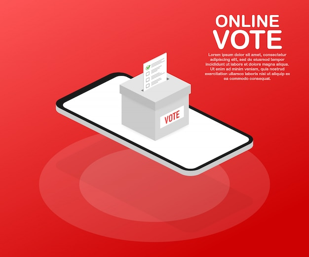 Conceito de vetor isométrica plana votação on-line, votação eletrônica, sistema de internet de eleição. .