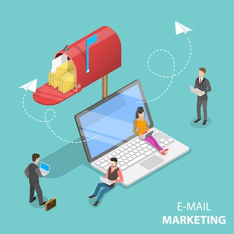 Conceito de vetor isométrico de promoção de produto de marketing por e-mail