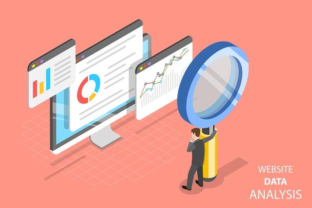 Conceito de vetor isométrico plano de análise de dados de sites