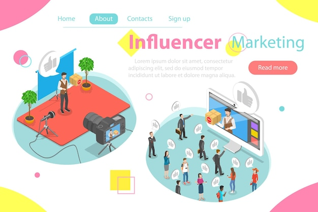 Conceito de vetor isométrico plano de marketing influenciador