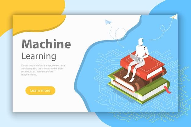 Conceito de vetor plano isométrico de aprendizado de máquina, ai, mineração de dados, chatbot, big data.