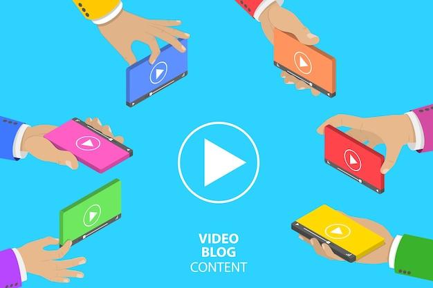 Conceito de vetor plano isométrico de criação de conteúdo de vídeo, campanha de marketing digital.