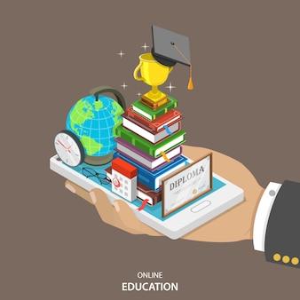 Conceito de vetor plano isométrico de educação on-line.