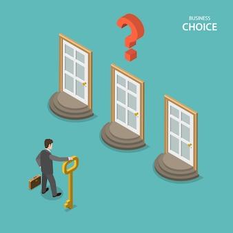 Conceito de vetor plano isométrico de escolha de negócio.