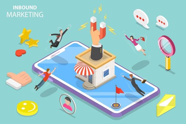 Conceito de vetor plano isométrico de estratégia de marketing digital de entrada