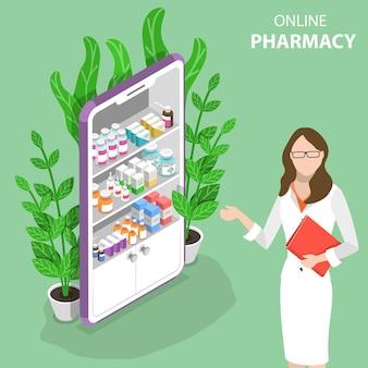 Conceito de vetor plano isométrico de farmácia on-line, aplicativo móvel.