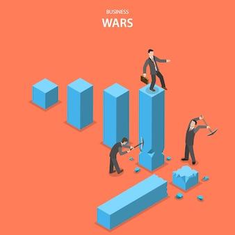 Conceito de vetor plano isométrico de guerras de negócios.