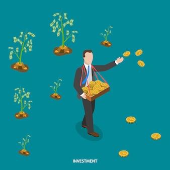 Conceito de vetor plano isométrico de investimento.