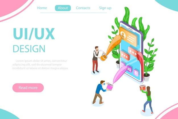 Conceito de vetor plano isométrico de processo de design de interface do usuário e ux, desenvolvimento de aplicativo móvel, design de interface do usuário.