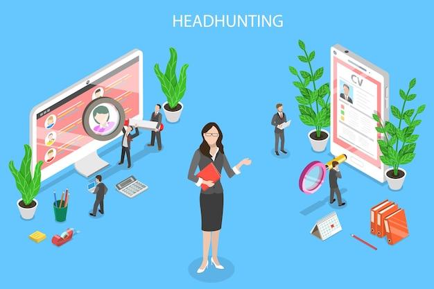 Conceito de vetor plano isométrico de recrutamento de headhunting avaliação de gerente de rh
