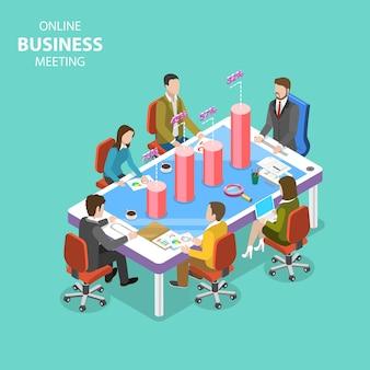 Conceito de vetor plano isométrico de reunião de negócios, conferência online, webinar, treinamento de grupo.