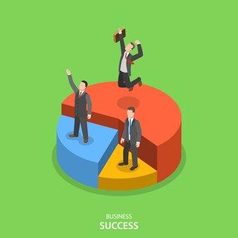 Conceito de vetor plano isométrico de sucesso financeiro.