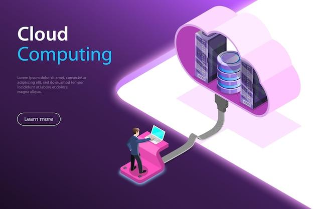 Conceito de vetor plano isométrico de tecnologia de computação em nuvem, armazenamento de dados e hostiung, big data.