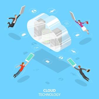 Conceito de vetor plano isométrico de tecnologia de computação em nuvem.