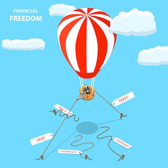 Conceito de vetor plano isométrico liberdade financeira