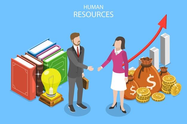 Conceito de vetor plano isométrico ou recursos humanos, candidato a emprego, rh, entrevista de posição, headhunter.