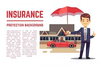 Conceito de vetor seguros com agente de seguros mostrando documento, política
