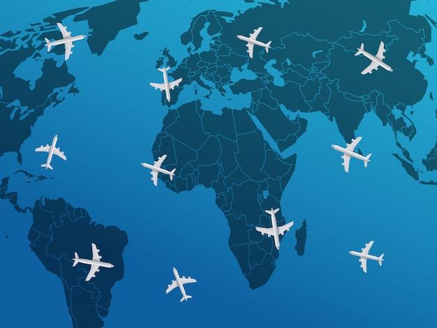 Conceito de viagem aérea com aviões. ilustração vetorial
