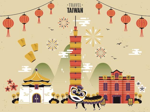 Conceito de viagem cultural de taiwan