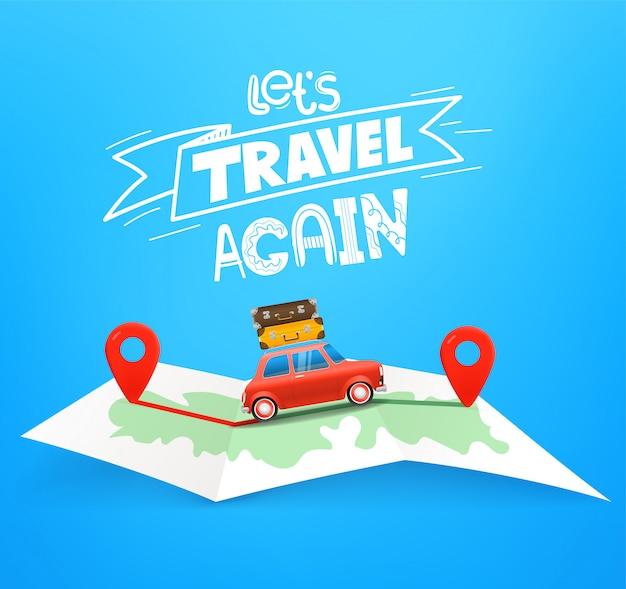 Conceito de viagem de carro com mapa