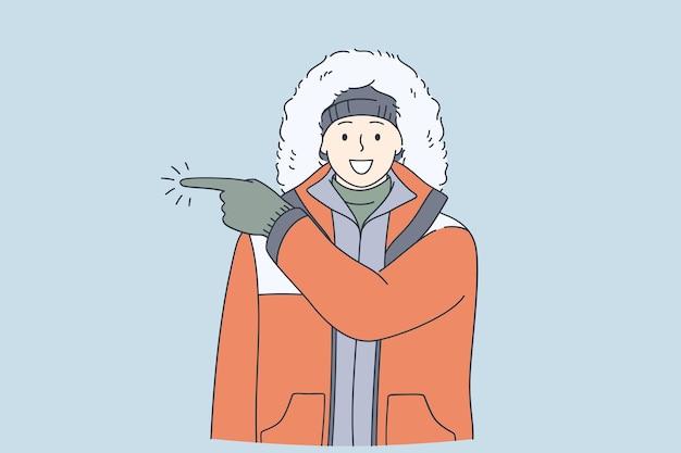 Conceito de viagem de inverno de expedição de aventureiro
