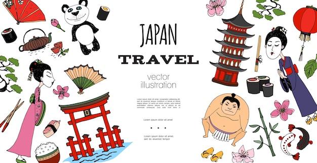 Conceito de viagem para o japão desenhado à mão