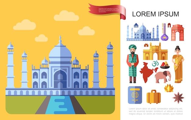 Conceito de viagem plana para a índia