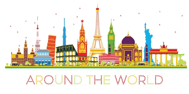 Conceito de viagens ao redor do mundo com monumentos famosos internacionais. ilustração vetorial. conceito de negócios e turismo. imagem para apresentação, cartaz, banner ou site.