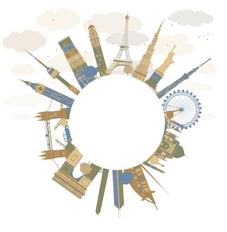 Conceito de viagens ao redor do mundo. marcos internacionais famosos