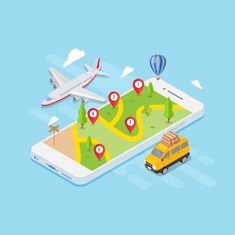 Conceito de viagens de localização de mapa isométrica