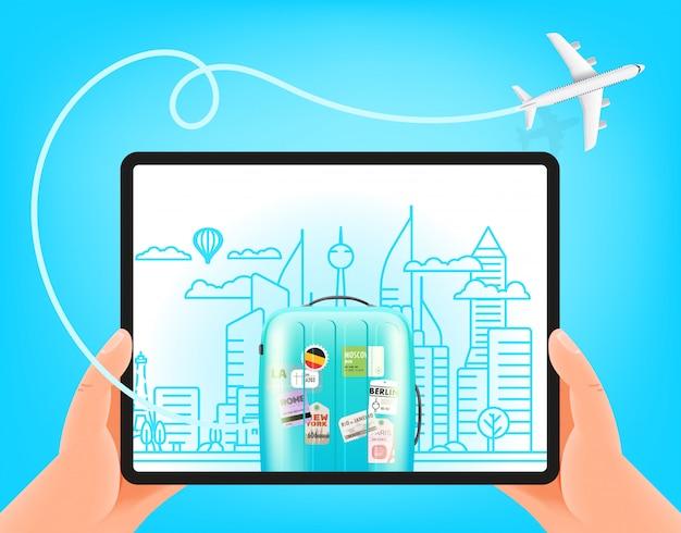 Conceito de viagens do mundo. homem segurando computador tablet moderno