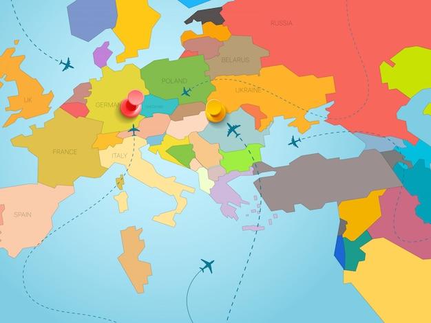 Conceito de viagens do mundo. ilustração vetorial com mapa da europa e pinos de cor