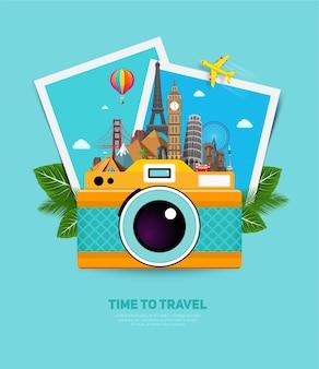 Conceito de viagens e férias com monumentos famosos